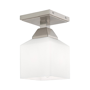 Aragon Brushed Nickel 5-Inch One-Light Ceiling Mount with Hand Blown Satin Opal White Glass
