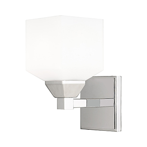 Aragon Polished Chrome 5-Inch One-Light Wall Sconce with Hand Blown Satin Opal White Glass