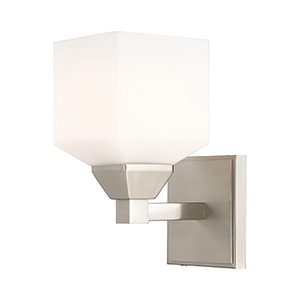 Aragon Brushed Nickel 5-Inch One-Light Wall Sconce with Hand Blown Satin Opal White Glass