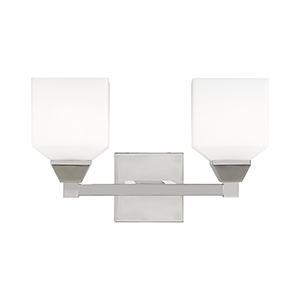Aragon Polished Chrome 15-Inch Two-Light Bath Vanity with Hand Blown Satin Opal White Glass