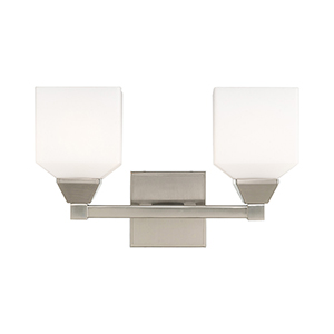 Aragon Brushed Nickel 15-Inch Two-Light Bath Vanity with Hand Blown Satin Opal White Glass