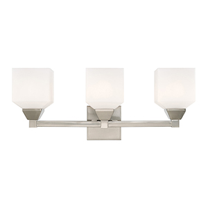 Aragon Brushed Nickel 23-Inch Three-Light Bath Vanity with Hand Blown Satin Opal White Glass