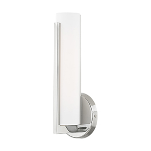 Visby Polished Chrome 4-Inch ADA Wall Sconce with Satin White Acrylic Shade