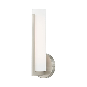 Visby Brushed Nickel 4-Inch ADA Wall Sconce with Satin White Acrylic Shade