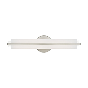 Visby Brushed Nickel 4-Inch ADA Bath Vanity with Satin White Acrylic Shade