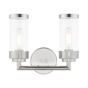 Hillcrest Polished Chrome 13-Inch Two-Light Bath Vanity