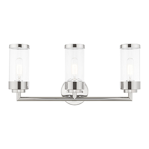 Hillcrest Polished Chrome 24-Inch Three-Light Bath Vanity