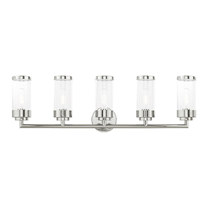 Hillcrest Polished Chrome 36-Inch Five-Light Bath Vanity