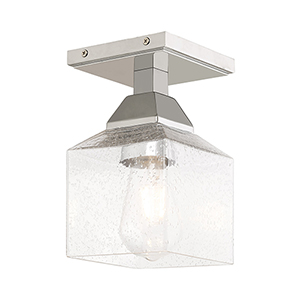 Aragon Polished Chrome 5-Inch One-Light Ceiling Mount with Hand Blown Clear Seeded Glass