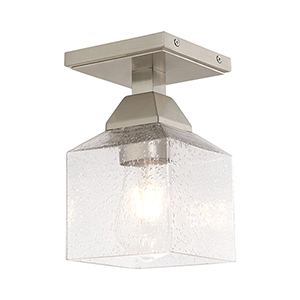 Aragon Brushed Nickel 5-Inch One-Light Ceiling Mount with Hand Blown Clear Seeded Glass