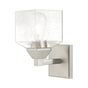 Aragon Brushed Nickel 5-Inch One-Light Wall Sconce with Hand Blown Clear Seeded Glass