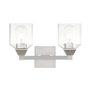 Aragon Polished Chrome 15-Inch Two-Light Bath Vanity with Hand Blown Clear Seeded Glass