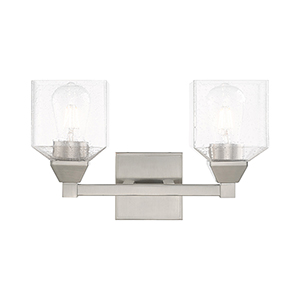 Aragon Brushed Nickel 15-Inch Two-Light Bath Vanity with Hand Blown Clear Seeded Glass