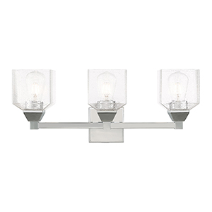 Aragon Polished Chrome 23-Inch Three-Light Bath Vanity with Hand Blown Clear Seeded Glass