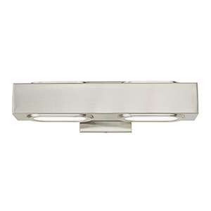 Kimball Brushed Nickel 16-Inch ADA Bath Vanity with Satin Glass Diffuser