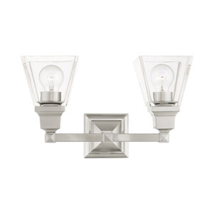 Mission Brushed Nickel Two-Light Bath Vanity