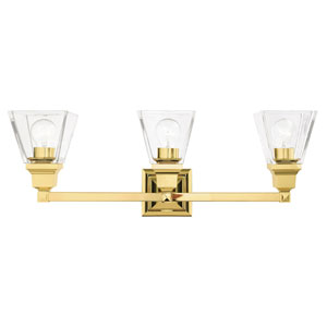 Mission Polished Brass Three-Light Bath Vanity