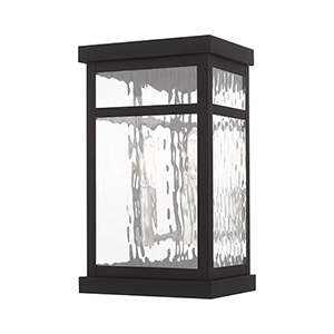 Hopewell Black 12-Inch Two-Light Outdoor Wall Lantern with Transparent Water Glass