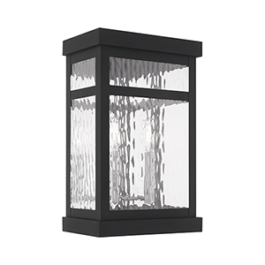 Hopewell Black 9-Inch Two-Light Wall Lantern Transparent Water Glass