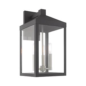 Nyack Scandinavian Gray Eight-Inch Three-Light Wall Lantern