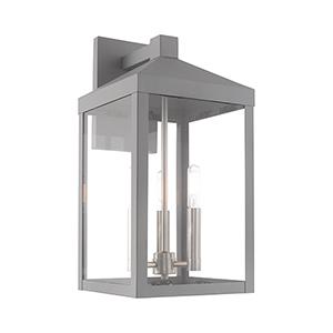 Nyack Nordic Gray Eight-Inch Three-Light Wall Lantern