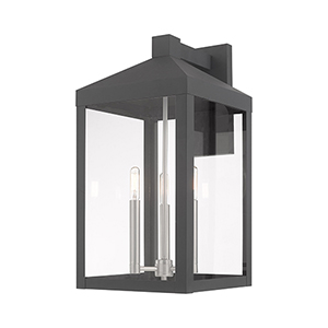 Nyack Scandinavian Gray 11-Inch Three-Light Wall Lantern