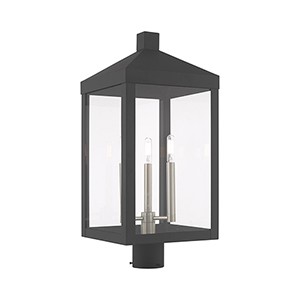 Nyack Scandinavian Gray 11-Inch Three-Light Post Top Lantern