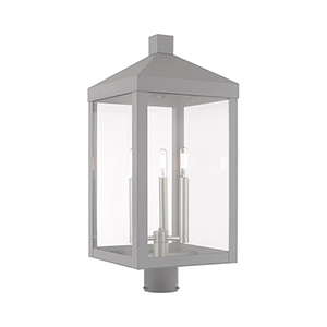 Nyack Nordic Gray 11-Inch Three-Light Post Top Lantern