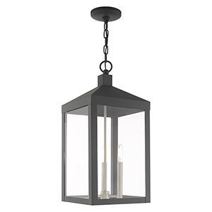 Nyack Scandinavian Gray 11-Inch Three-Light Pendant Lantern