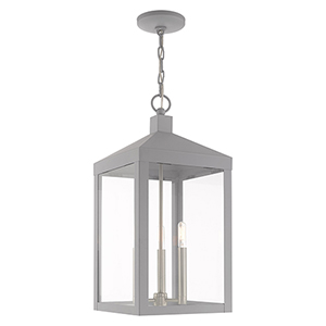 Nyack Nordic Gray 11-Inch Three-Light Pendant Lantern