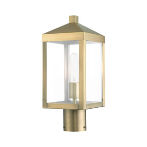 Nyack Antique Brass Cluster One-Light Outdoor Post Light