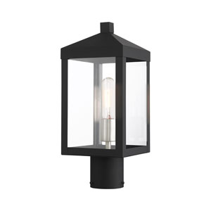 Nyack Black and Brushed Nickel Cluster One-Light Outdoor Post Light