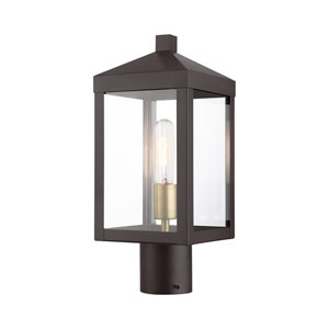 Nyack Bronze and Antique Brass Cluster One-Light Outdoor Post Light