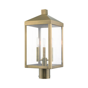 Nyack Antique Brass Three-Light Outdoor Post Light