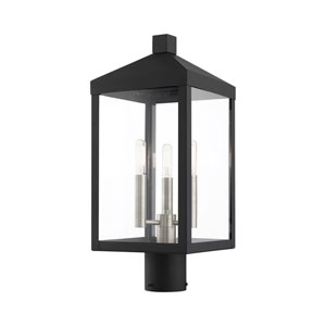 Nyack Black and Brushed Nickel Cluster Three-Light Outdoor Post Light