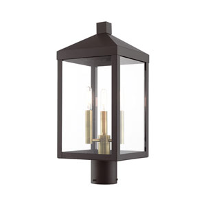 Nyack Bronze and Antique Brass Cluster Three-Light Outdoor Post Light
