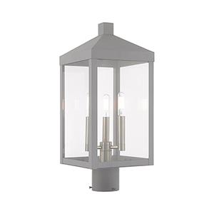Nyack Nordic Gray Three-Light Post Top Lantern