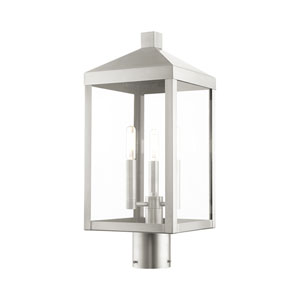 Nyack Brushed Nickel Three-Light Outdoor Post Light