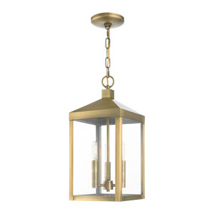 Nyack Antique Brass Three-Light Outdoor Pendant Lantern