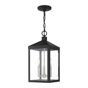 Nyack Black and Brushed Nickel Cluster Three-Light Outdoor Pendant Lantern