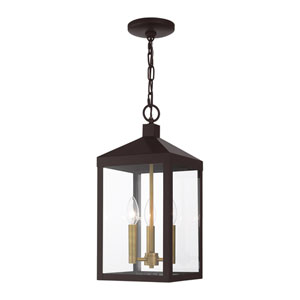 Nyack Bronze and Antique Brass Cluster Three-Light Outdoor Pendant Lantern