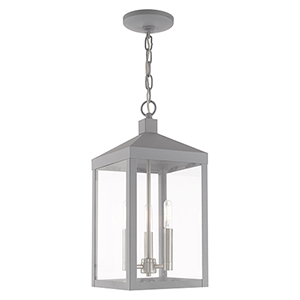 Nyack Nordic Gray Eight-Inch Three-Light Pendant Lantern