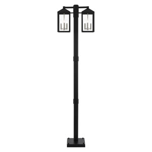 Nyack Black and Brushed Nickel Cluster Six-Light Outdoor Post Light
