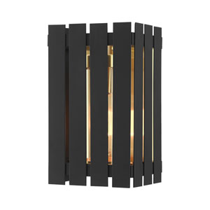 Greenwich Black and Satin Brass 10-Inch One-Light Outdoor Wall Lantern