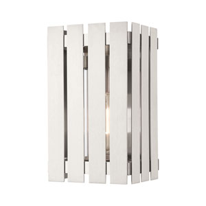 Greenwich Brushed Nickel 10-Inch One-Light Outdoor Wall Lantern