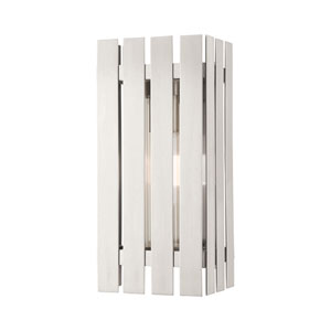 Greenwich Brushed Nickel 13-Inch One-Light Outdoor Wall Lantern