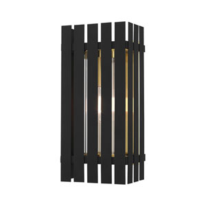 Greenwich Black and Satin Brass 8-Inch One-Light Outdoor Wall Lantern
