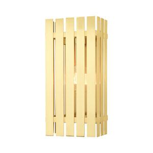 Greenwich Satin Brass 8-Inch One-Light Outdoor Wall Lantern