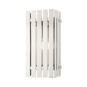 Greenwich Brushed Nickel 8-Inch One-Light Outdoor Wall Lantern