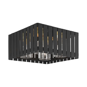Greenwich Black and Satin Brass Four-Light Outdoor Flush Mount